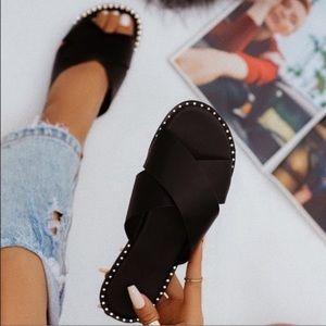 Shoes - Black X Band Studded Slide Flat Sandals